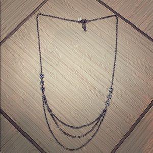 silver chevron multi-chain silver necklace